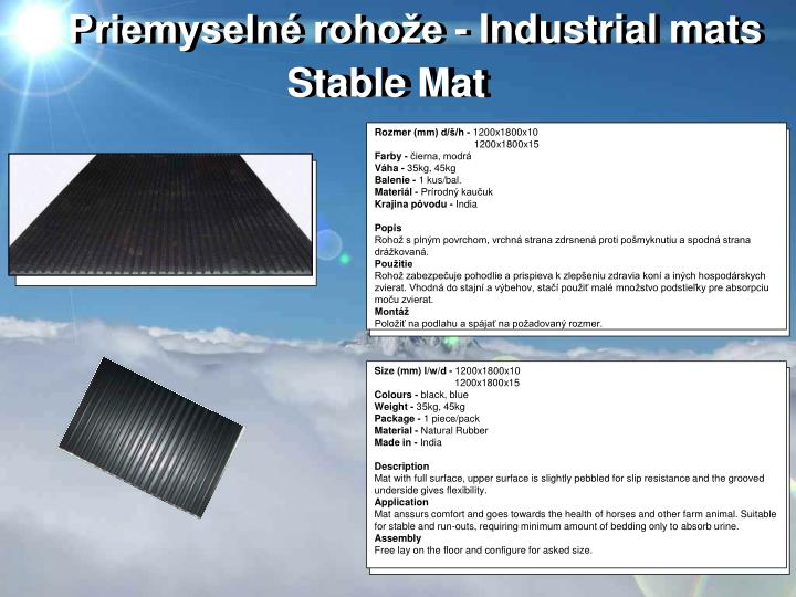 Priemyselné rohože - Industrial mats