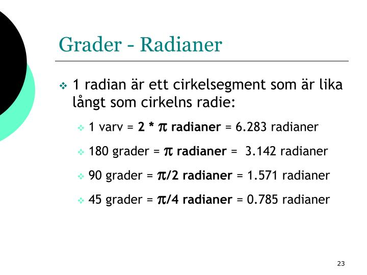 Grader - Radianer