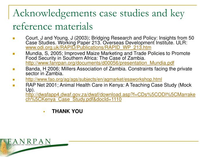 Acknowledgements case studies and key reference materials