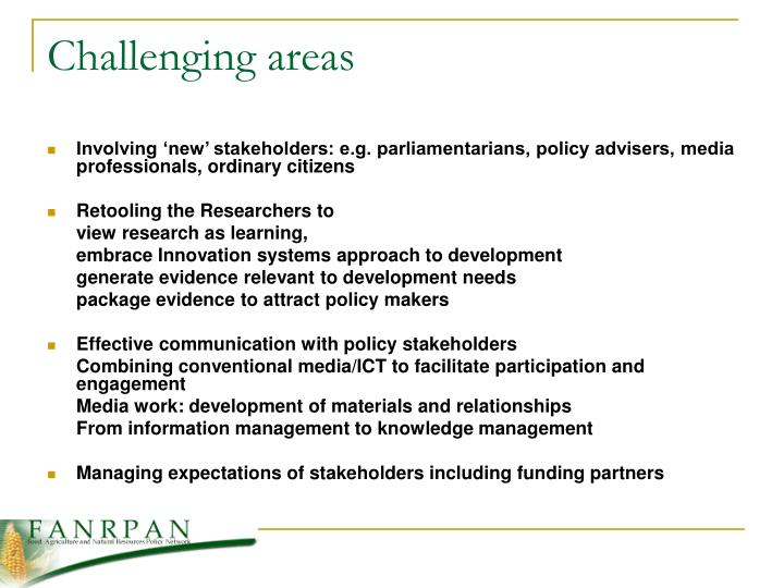 Challenging areas