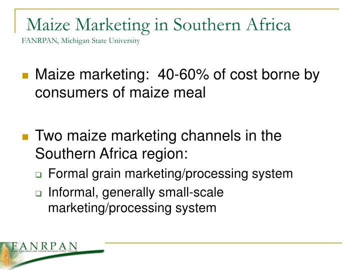 Maize Marketing in Southern Africa