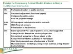 policies for community animal health workers in kenya cahw key interventions