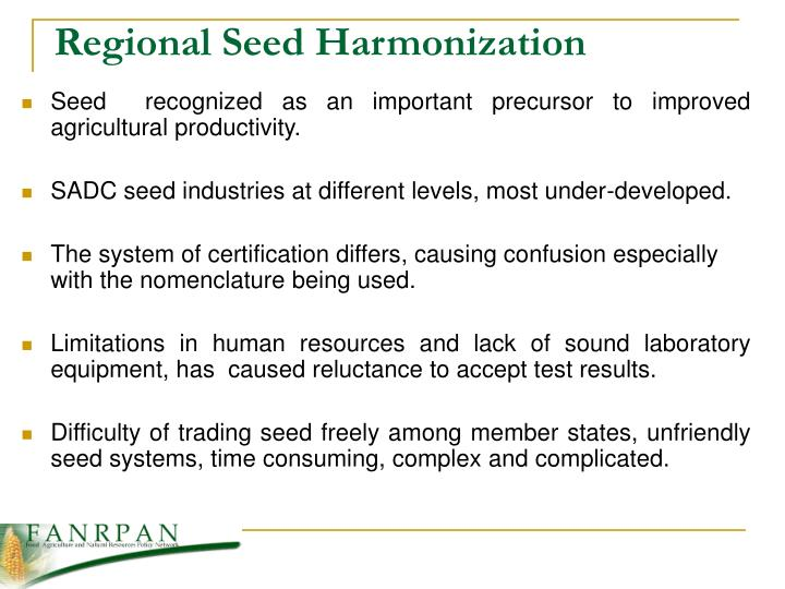 Regional Seed Harmonization