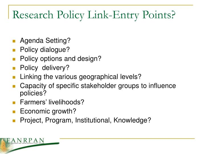 Research Policy Link-Entry Points?
