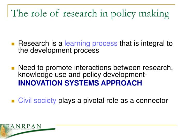 The role of research in policy making