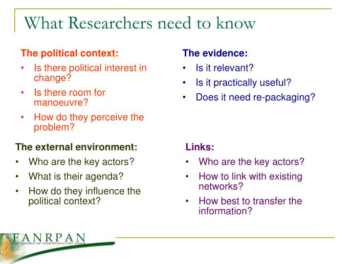 What Researchers need to know