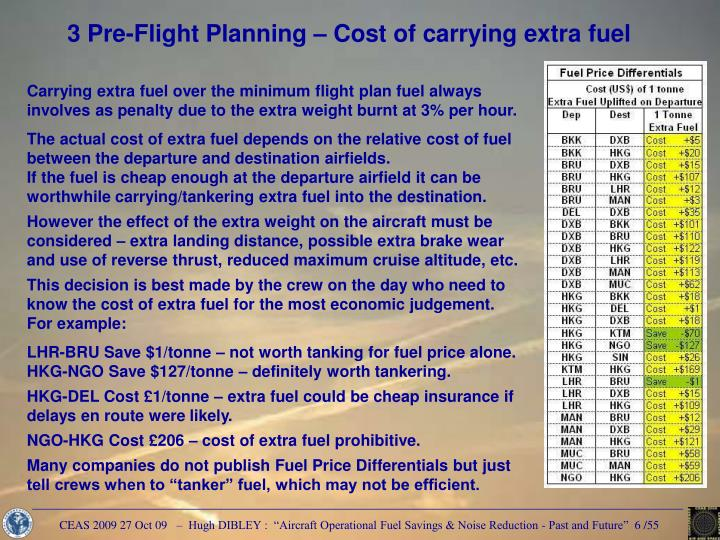3 Pre-Flight Planning – Cost of carrying extra fuel