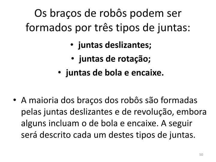 Os braços de robôs podem ser formados por três tipos de juntas: