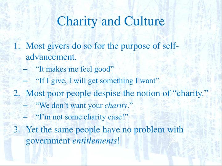 Charity and Culture