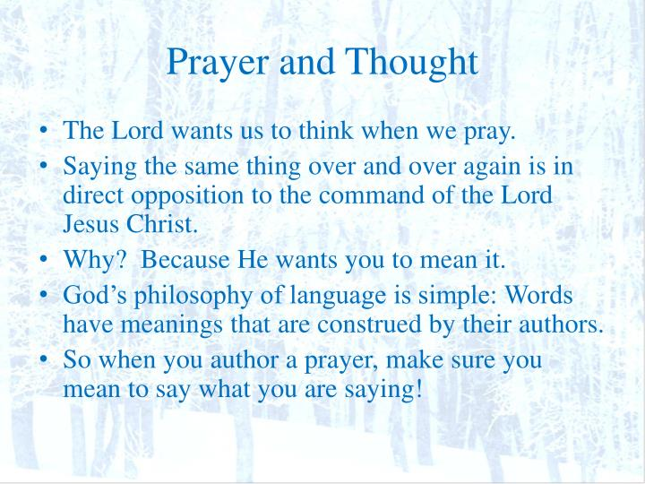 Prayer and Thought
