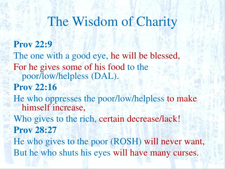 The Wisdom of Charity