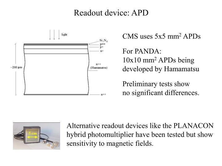 Readout device: APD