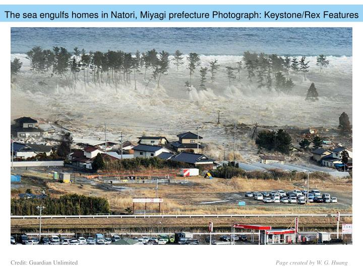 The sea engulfs homes in Natori, Miyagi prefecture Photograph: Keystone/Rex Features