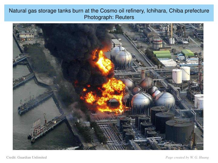 Natural gas storage tanks burn at the Cosmo oil refinery, Ichihara, Chiba prefecture Photograph: Reuters