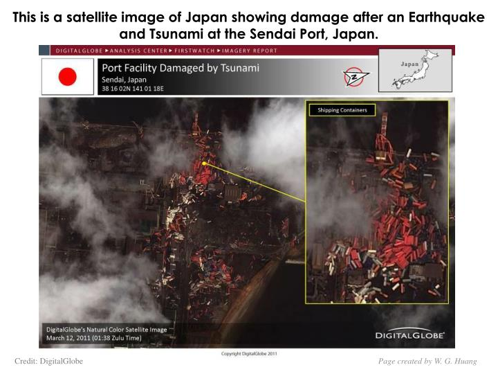 This is a satellite image of Japan showing damage after an Earthquake and Tsunami at the Sendai Port, Japan.