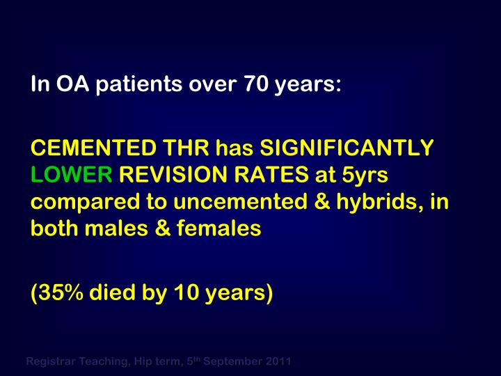 In OA patients over 70 years: