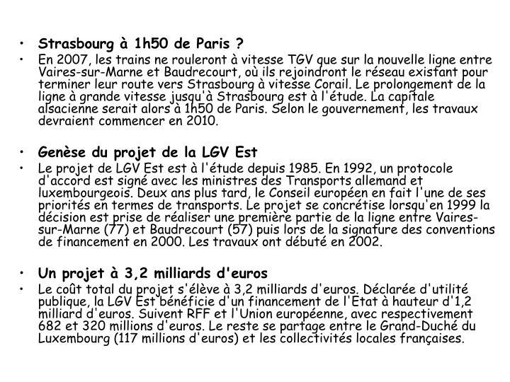 Strasbourg à 1h50 de Paris ?