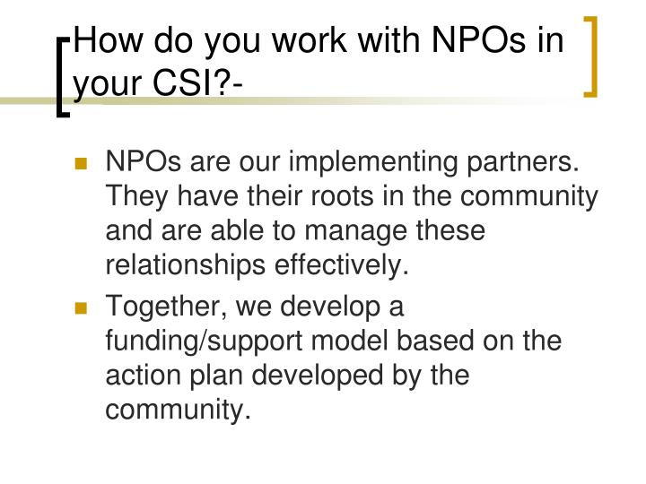 How do you work with NPOs in your CSI?-