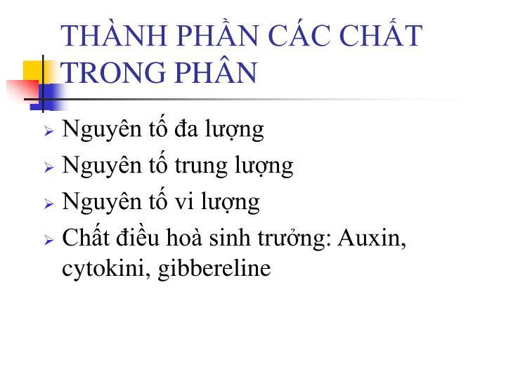 THÀNH PHẦN CÁC CHẤT TRONG PHÂN