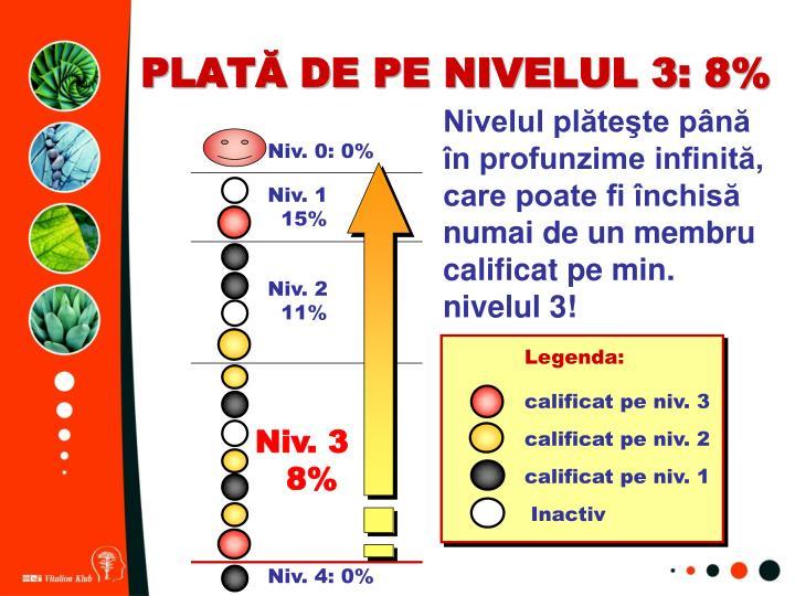 PLATĂ DE PE NIVELUL 3: 8%