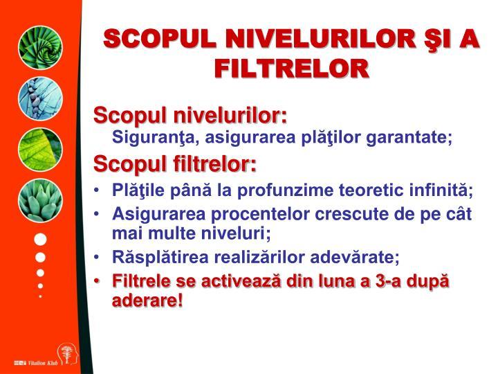 SCOPUL NIVELURILOR ŞI A FILTRELOR