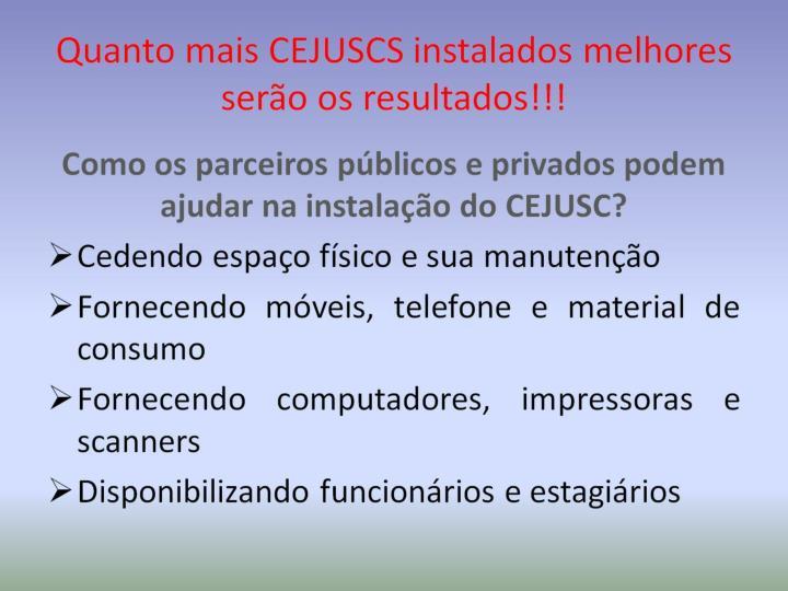 Quanto mais CEJUSCS instalados melhores serão os resultados!!!