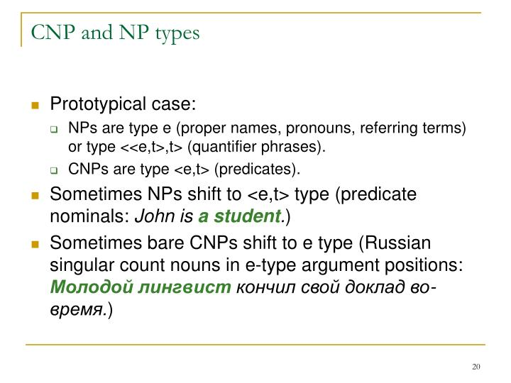 CNP and NP types