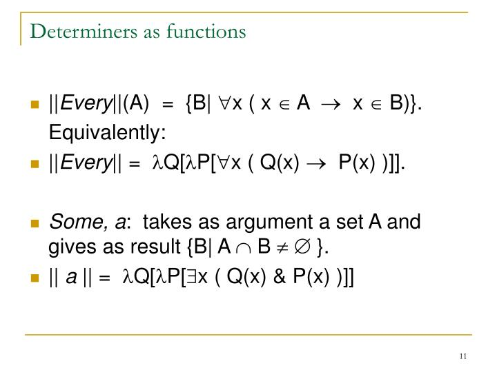 Determiners as functions