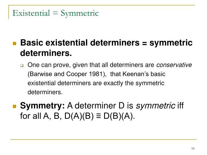 Existential = Symmetric