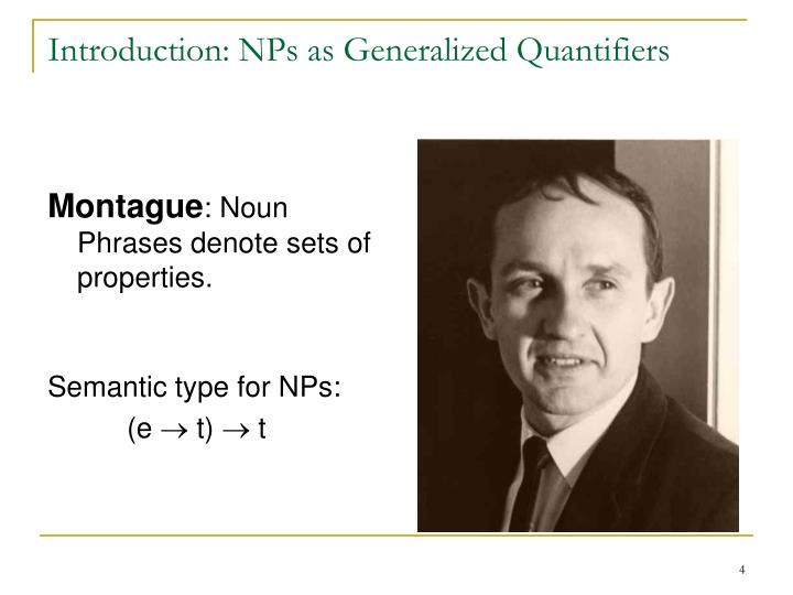 Introduction: NPs as Generalized Quantifiers