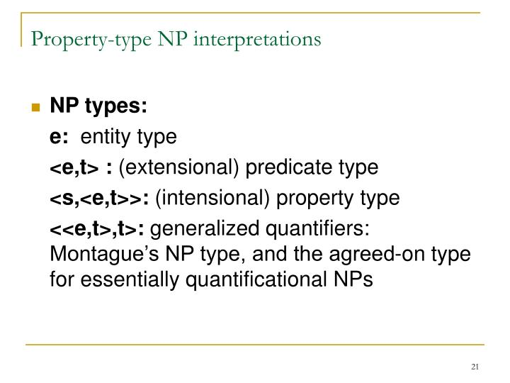 Property-type NP interpretations