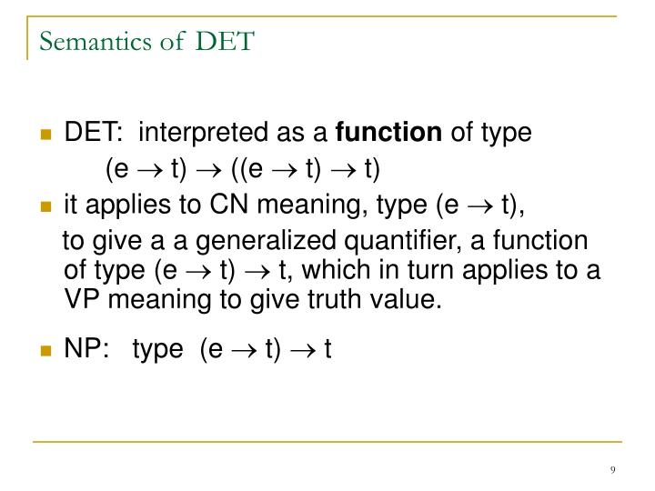 Semantics of DET