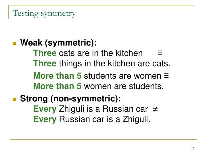 Testing symmetry