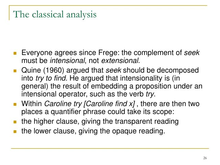 The classical analysis