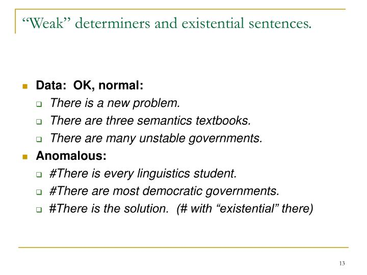 """Weak"" determiners and existential sentences."