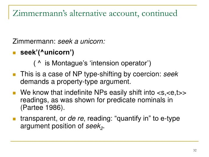 Zimmermann's alternative account, continued