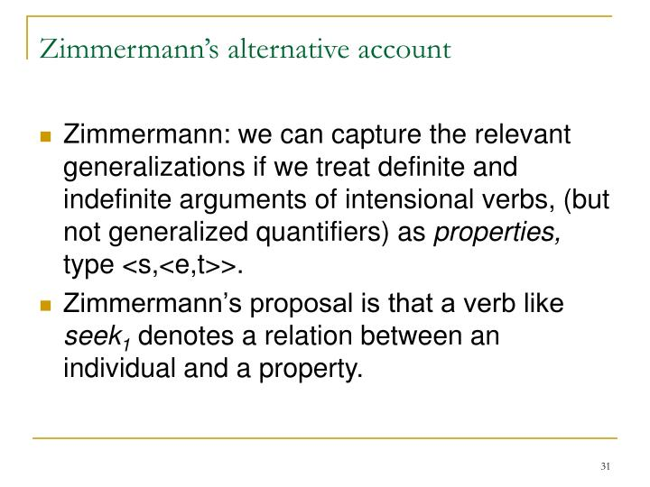 Zimmermann's alternative account