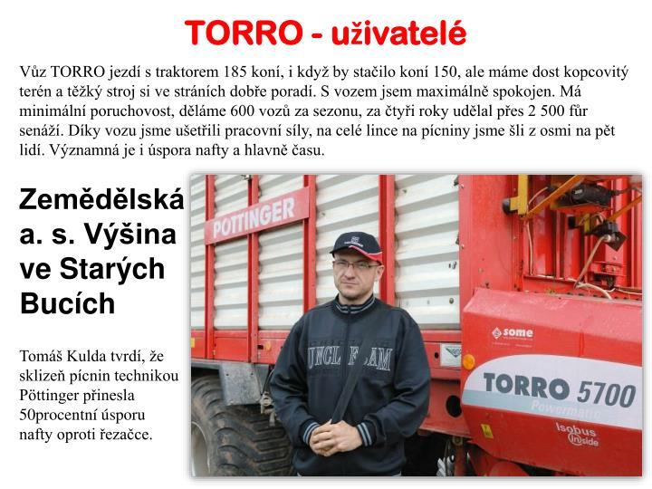 TORRO - uživatelé