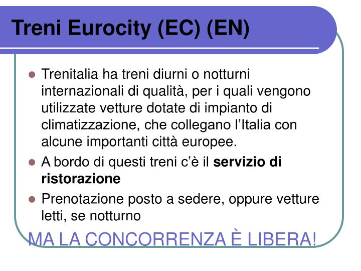 Treni Eurocity (EC) (EN)