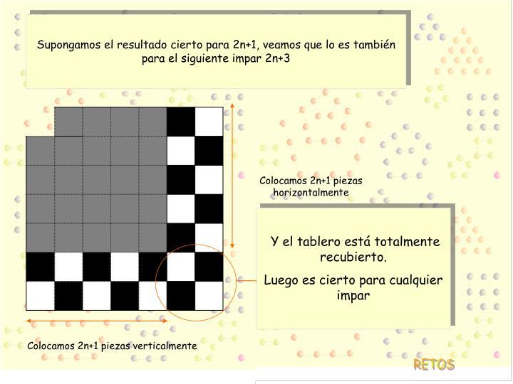 Supongamos el resultado cierto para 2n+1, veamos que lo es también para el siguiente impar 2n+3