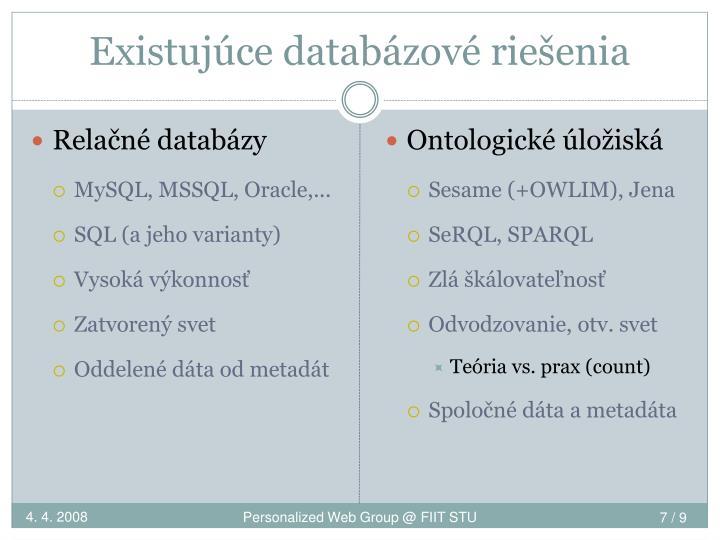 Existujúce databázové riešenia