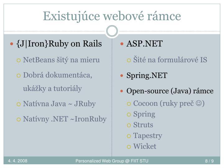 Existujúce webové rámce