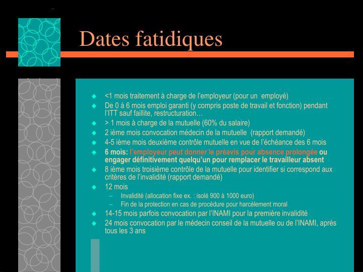 Dates fatidiques
