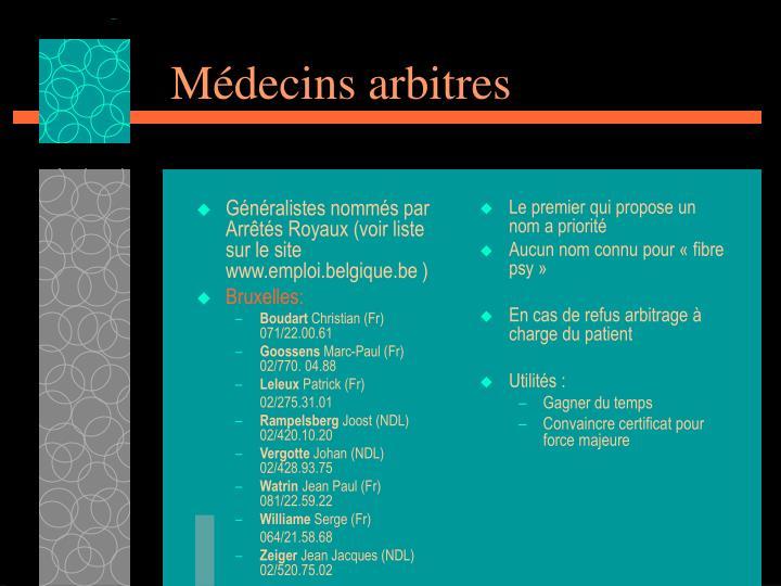 Généralistes nommés par Arrêtés Royaux (voir liste sur le site www.emploi.belgique.be )