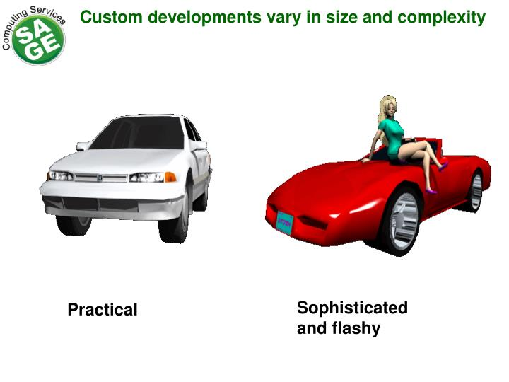 Custom developments vary in size and complexity