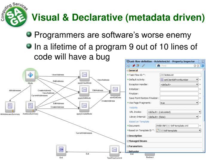 Visual & Declarative (metadata driven)