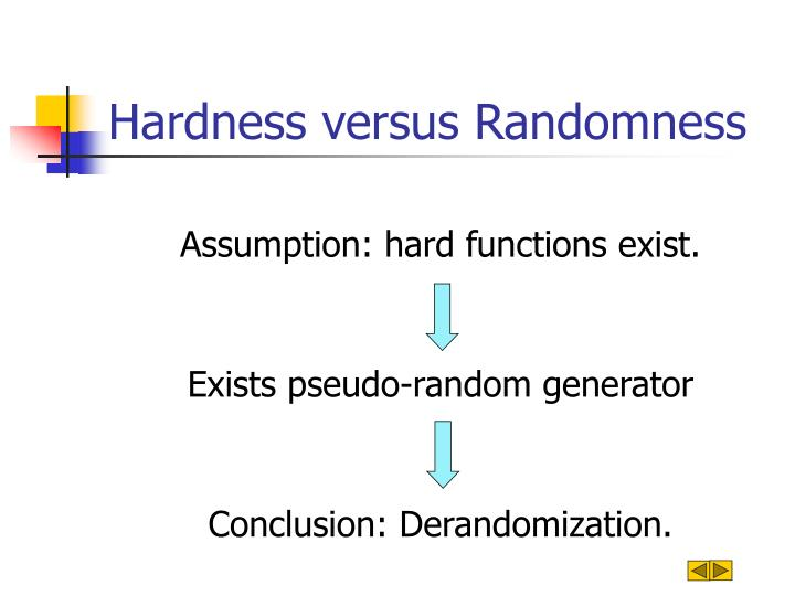 Hardness versus Randomness