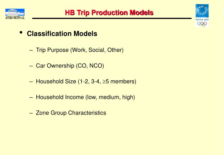 HB Trip Production Models