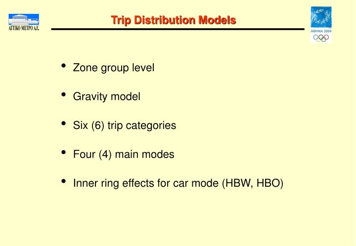 Trip Distribution Models