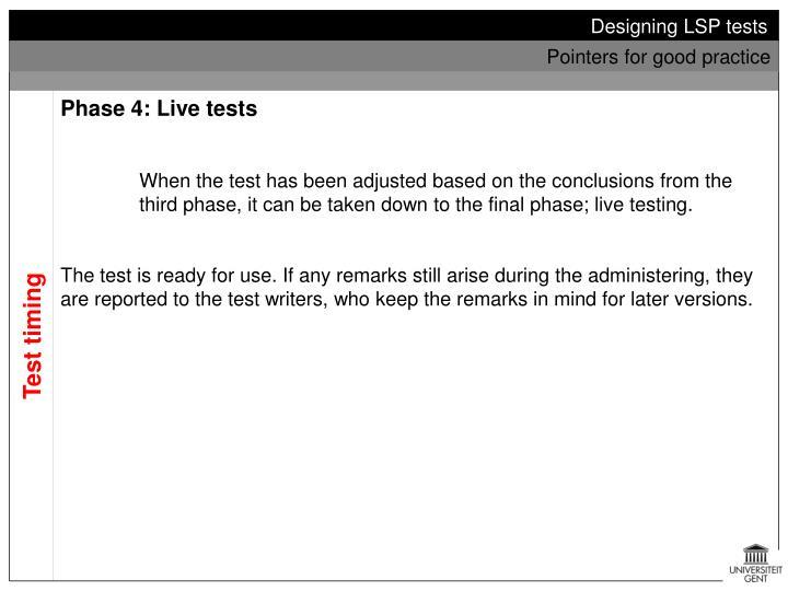 Designing LSP tests